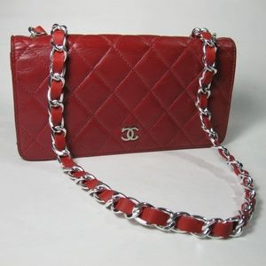 Chanel Matelasse Red Leather CC Logo Long Wallet